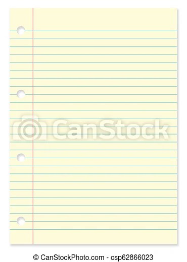 Blank lined yellow paper sheet from notebook on white background