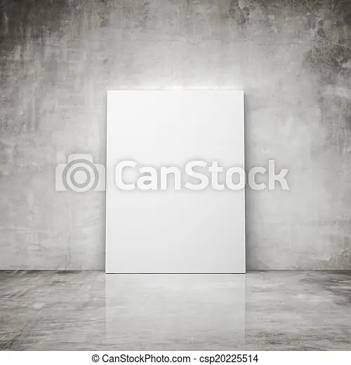 Concrete room with blank poster