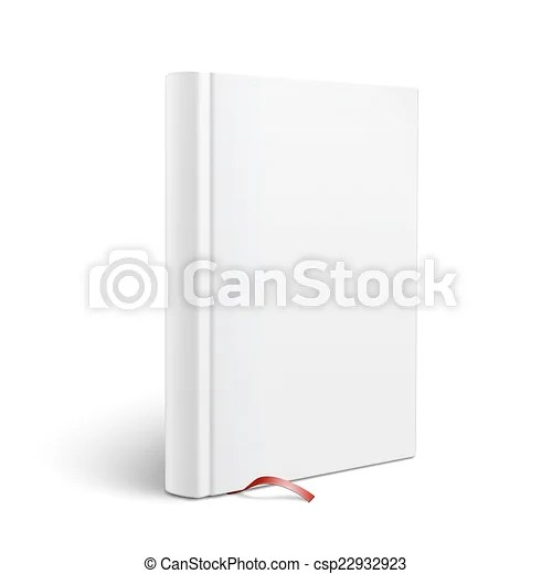 Blank vertical book with bookmark template Blank vertical hardcover