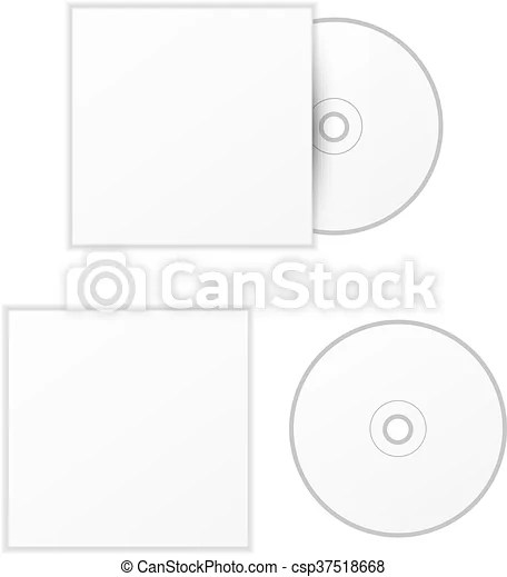 Blank white compact disk with cover mock up template clip art