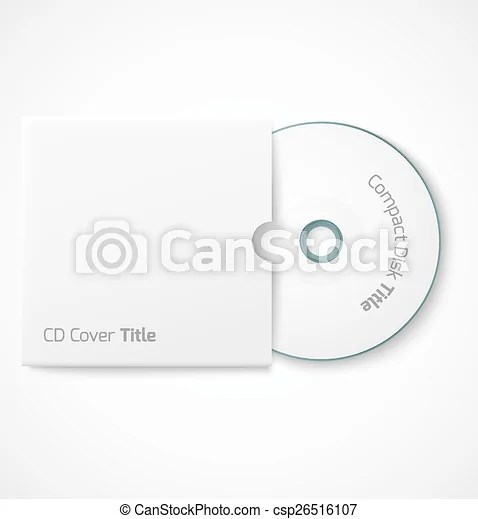 Blank white compact disk with cover mock up template vector