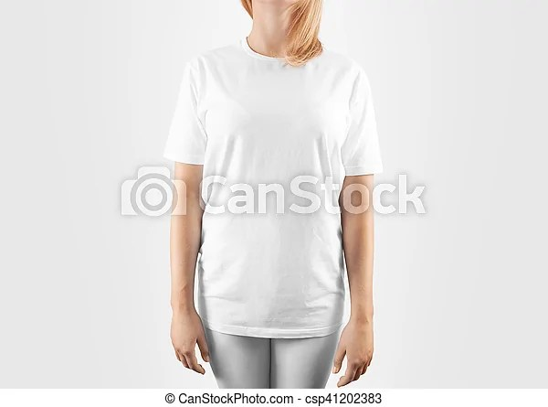 Blank white t-shirt design mockup, isolated, clipping path women