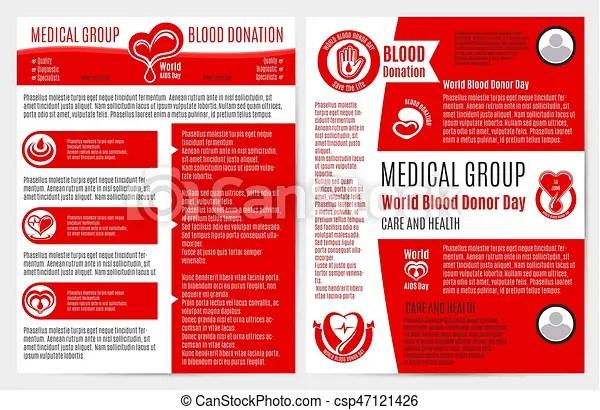 Blood donation medical brochure, poster template Blood donation - medical brochure