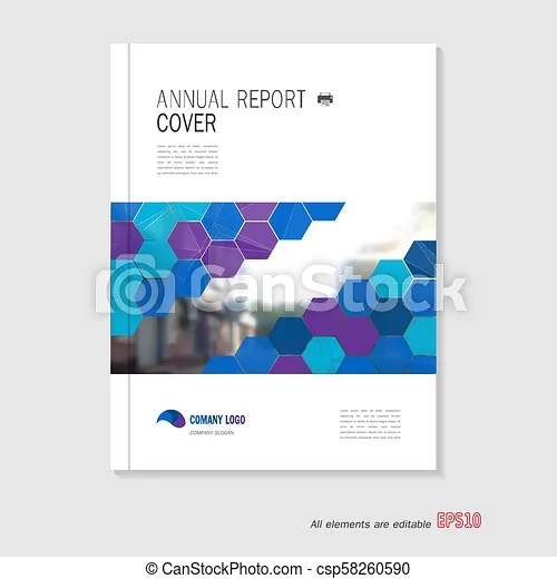 Blue annual report leaflet brochure flyer template a4 size, book