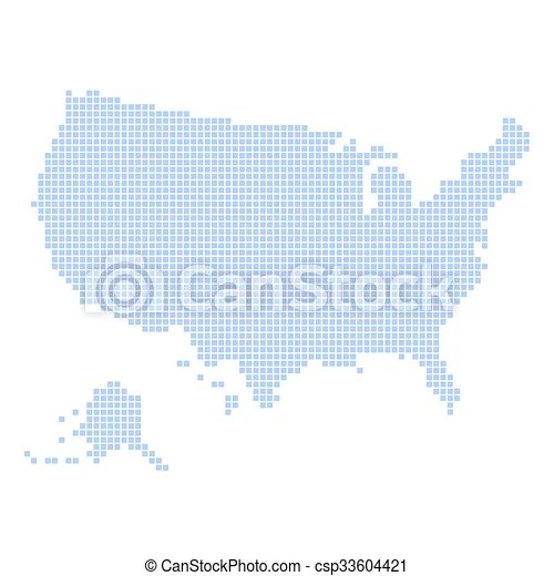 Blue dotted usa map on white background vector illustration