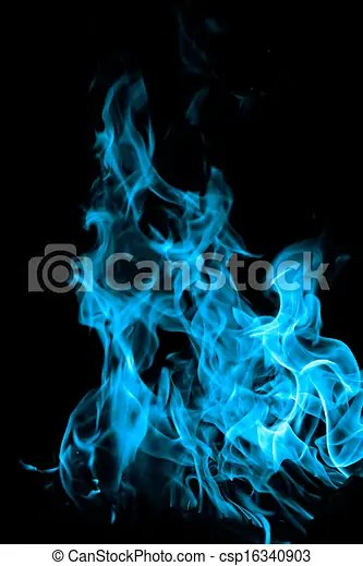 Blue fire on black background Blue flames of fire as abstract