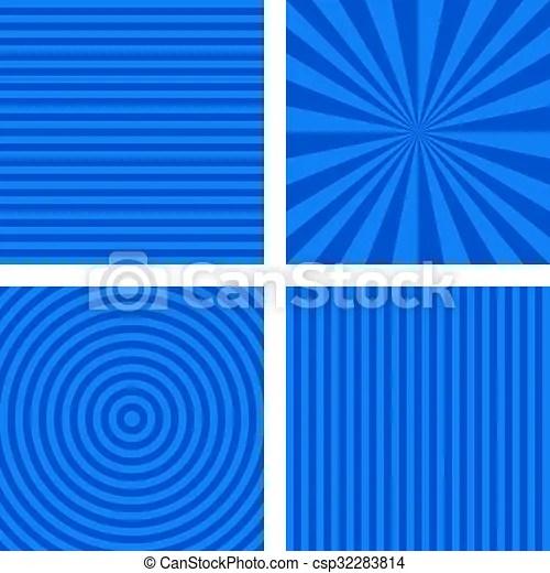 Blue simple striped background set  Blue simple geometric striped