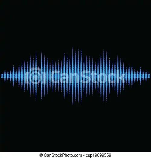 Blue sound waveform with triangular light filter Blue shiny sound
