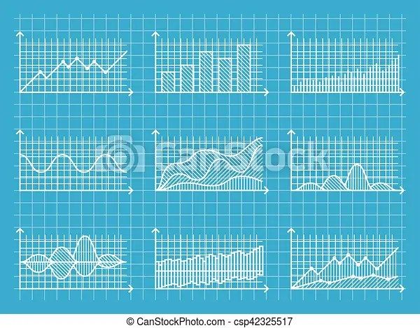 Blueprint infographic line graphs and charts template for vector - line graphs template