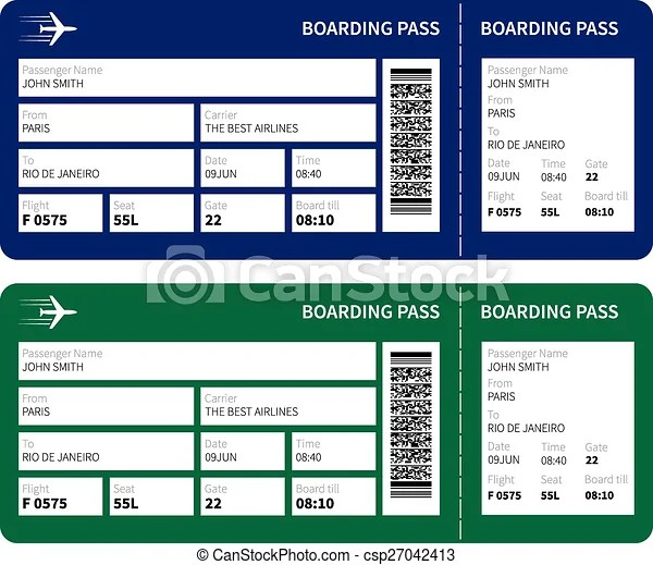 Airline boarding pass ticket for traveling by plane vector - boarding pass template