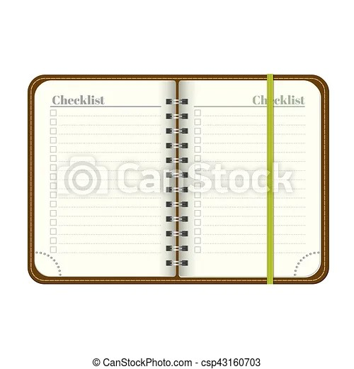 Vector Clipart Of Book With Blank Checklist Template Open A Blank   Blank  Checklist Template