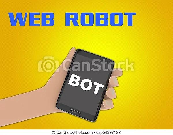 Bot - internet communication concept 3d illustration of bot script