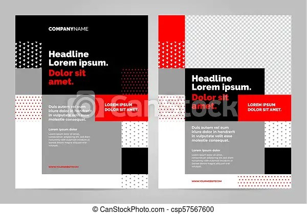 Brochure layout template design Red and black brochure layout