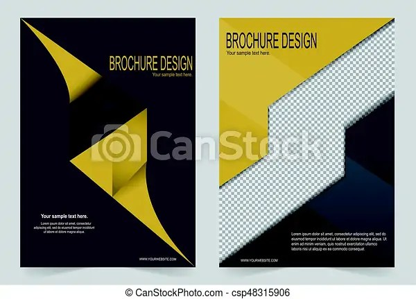 Brochure template, flyer design black and yellow template - black flyer template