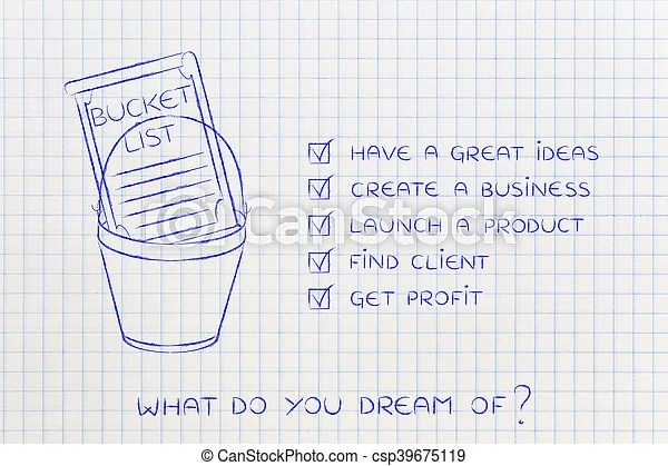 Bucket list with innovative business success, checklist version