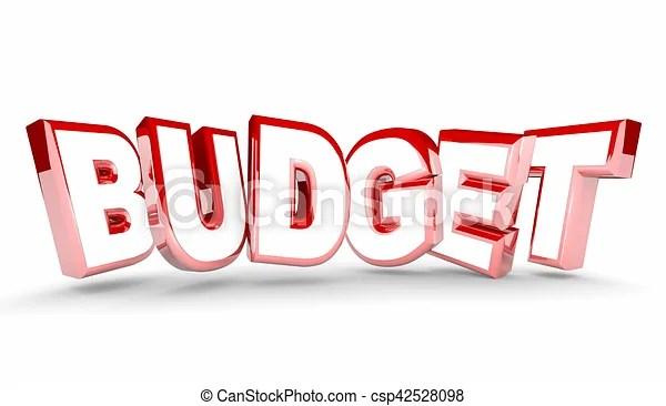 Budget plan money spending save savings word 3d illustration