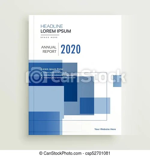 Business annual report brochure template design with blue geometric
