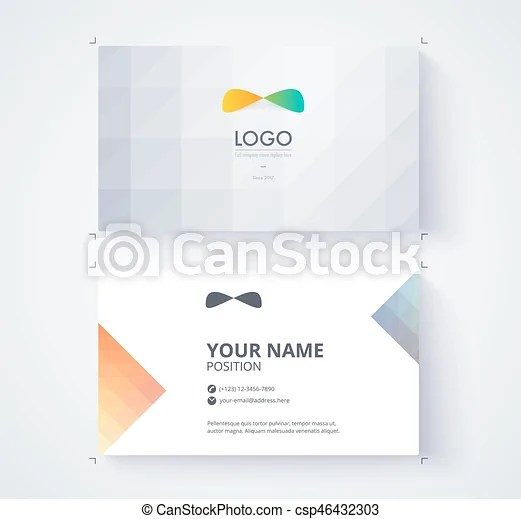 Business card template example logo and text position vector