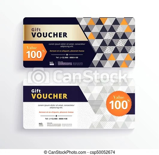 Business gift voucher template design with geometric vectors