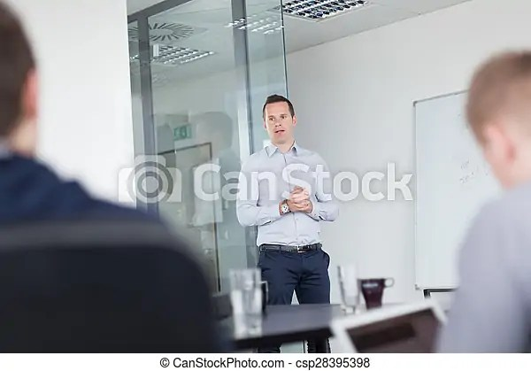 Business presentation on corporate meeting Business man stock