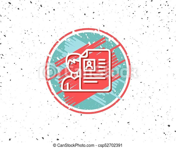 Business recruitment line icon cv documents Grunge button with