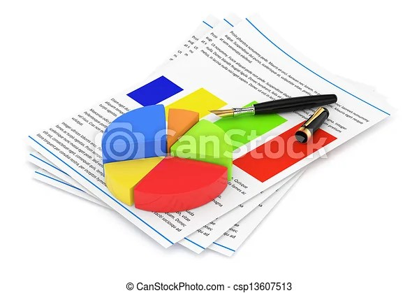 Business report concept isolated on white 3d rendered image