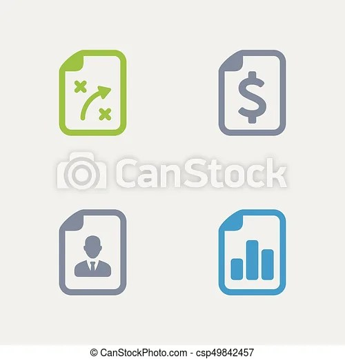 Business reports - granite icons A set of 4 professional, pixel