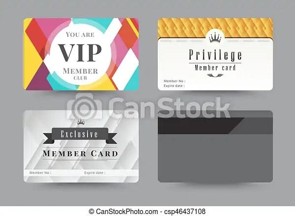 Business vip member cards design template vector illustration