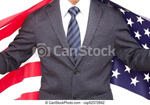 Businessman cover with united states of america flag on white