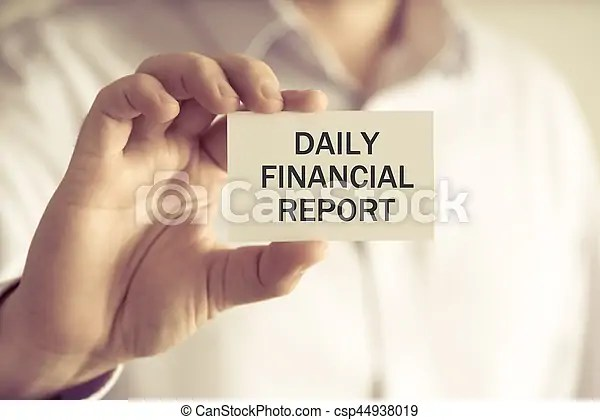 Businessman holding daily financial report message card Closeup on