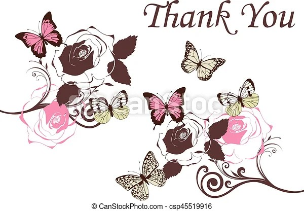 Butterflies vintage Vector thank you card with butterflies - butterfly thank you cards
