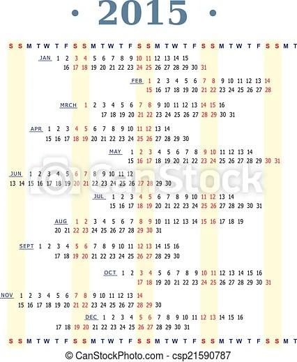 Calendar 2015 Original concept for 2015 year calendar template