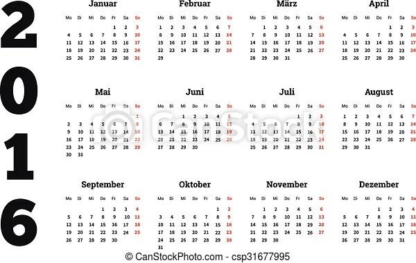 Calendar 2016 year on german language, a4 sheet size Calendar on