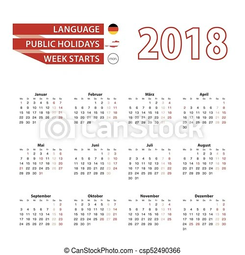 Calendar 2018 in germany language with public holidays the country