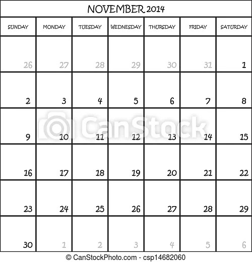 Calendar planner month november 2014 on transparent background