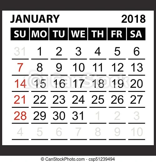 Calendar sheet january 2018, simple style week starts from sunday