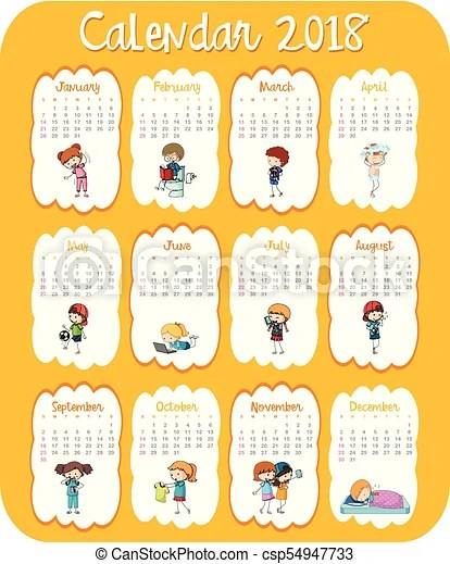Calendar template for 2018 with kids illustration vectors - Search - kids calendar template