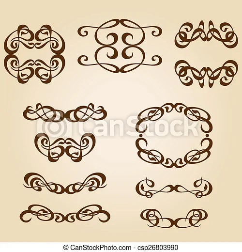 Calligraphy ornament frame set-01eps Set frames and backgrounds of
