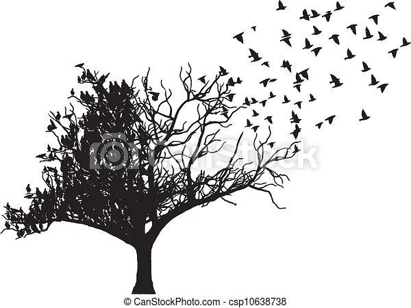 Vectors of tree bird art vector tree with fly bird art