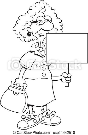 Vector clip art of senior citizen lady with a sign black