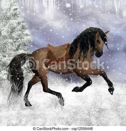 Cowgirl Wallpaper Quotes Drawing Of Fantasy Winter Horse In The Snow Greeting Card