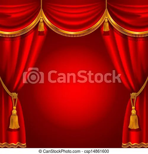 Vector clipart of red curtain theater stage with red