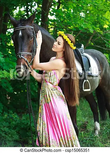 Cute Korean Girl Hd Wallpaper Download Stock Images Of Young Beautiful Girl With A Horse In Green