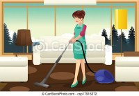 Vectors Illustration of Professional maid vacuuming carpet ...