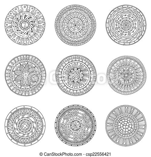 Vector illustration of set of hand drawn circles vector