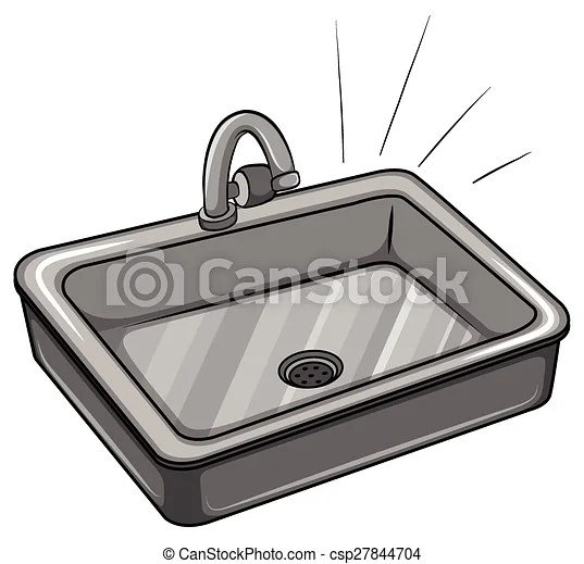 Vector Clipart Of A Kitchen Sink On A White Background