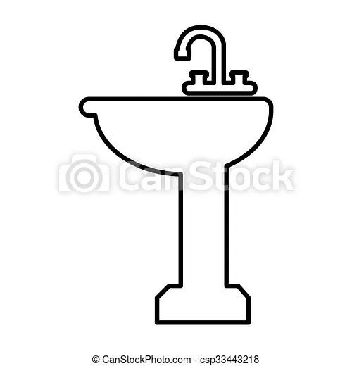 Vector Clip Art Of Bathroom Sink Line Icon Vector