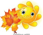 Autumn Leaf With Smiley Face Clip Art