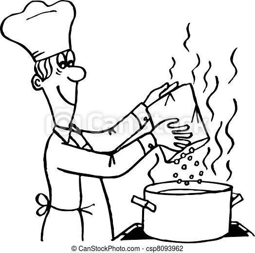 Vector illustration of cooking process cook making a