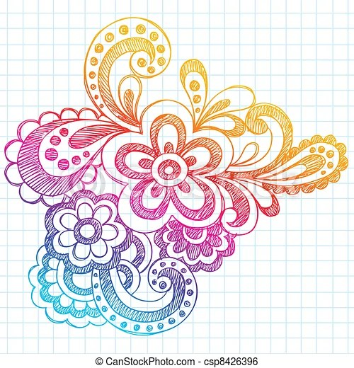 Hand Drawn Sketchy Henna Notebook Doodle On Lined Paper Background - graph paper